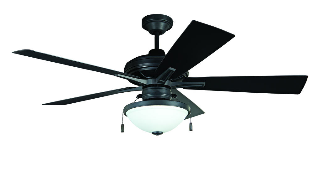 Riverfront 52 ceiling fan with blades and light in aged bronze brushed