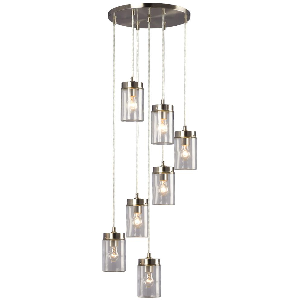 7 Light Multi Pendant In Brushed Nickel Finish With Clear Glass Shade